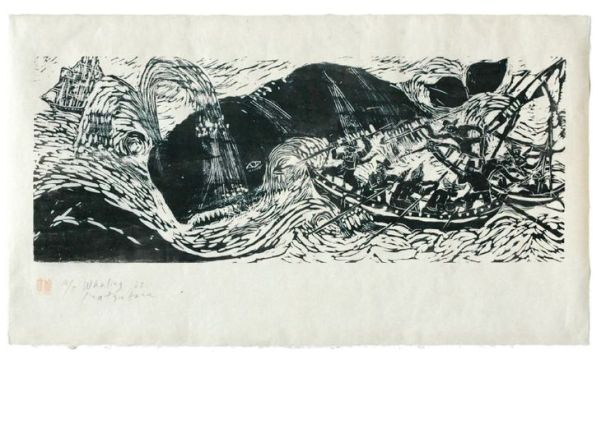 Bill Reiswig 'Whaling' (1967) by Japanese-born, Canadian-based artist printmaker Naoko Matsubara. Woodcut, 53.6 x 99.1 cm. via the artist's site